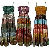 Gypsy Boho Womens Wholesale Lot Of 3 Pcs Maxi Dress Recycled Silk Swing Beach Sundress