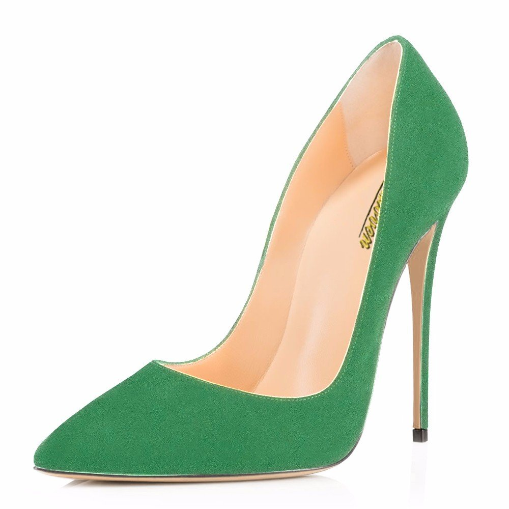 Modemoven Women's Pointy Toe High Heels Slip On Stilettos Large Size Wedding Party Evening Pumps Shoes B0773PNW3Q 15 B(M) US|Green Suede