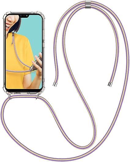 Winhoo Coque pour Huawei P20 Lite avec Bande Silicone et étui Rigide Transparent Housse Etui avec Smartphone Collier Tour de Cou Chaîne Cordon Lanière ...