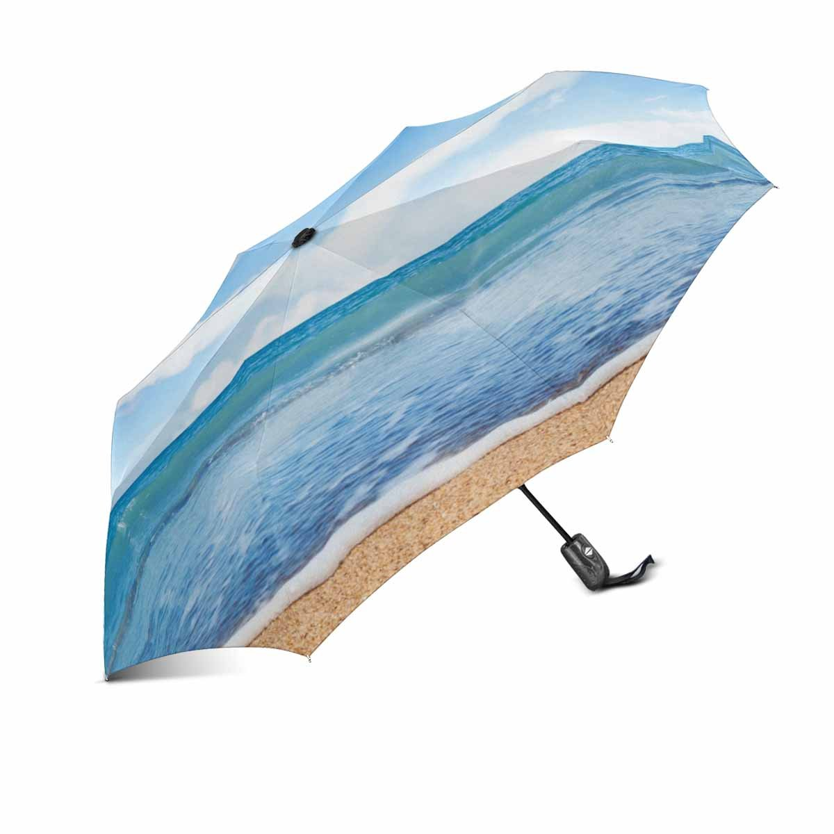 InterestPrint Tropocal Beach and Sea Love Heart Of Clouds On Blue Sky Windproof Auto Open and Close Foldable Umbrella, Lightweight Portable Outdoor Sun Umbrella with UV Protection
