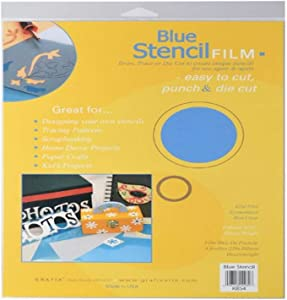 Grafix 9-Inch-by-12-Inch Stencil Film Blue, 4-Pack