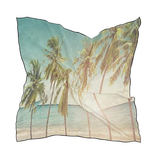 Amazon.com: Bufanda de seda para mujer, diseño de palmeras ...