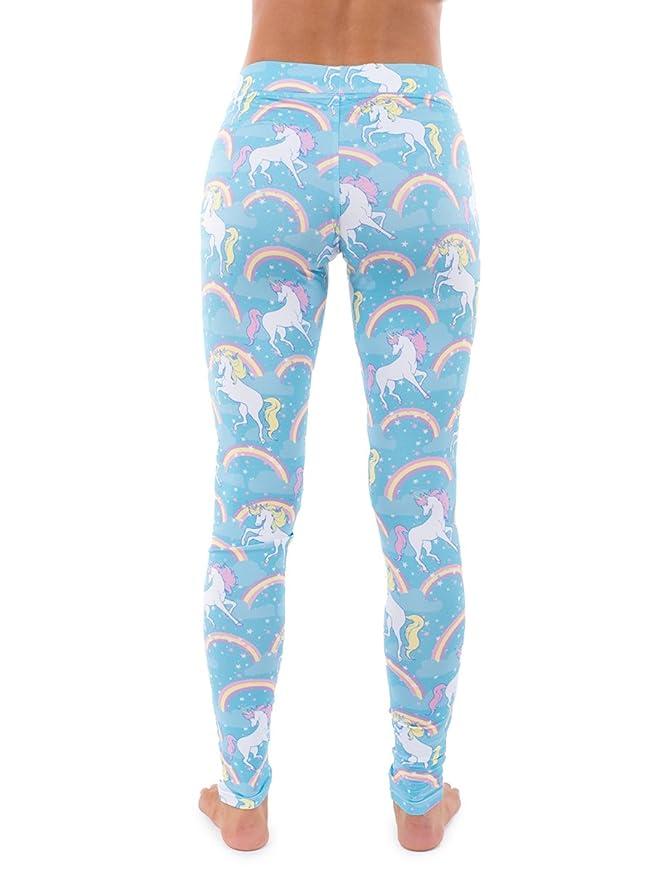 78b6a6b55b030 Women's Pastel Blue Rainbow Unicorn Leggings: Large at Amazon Women's  Clothing store:
