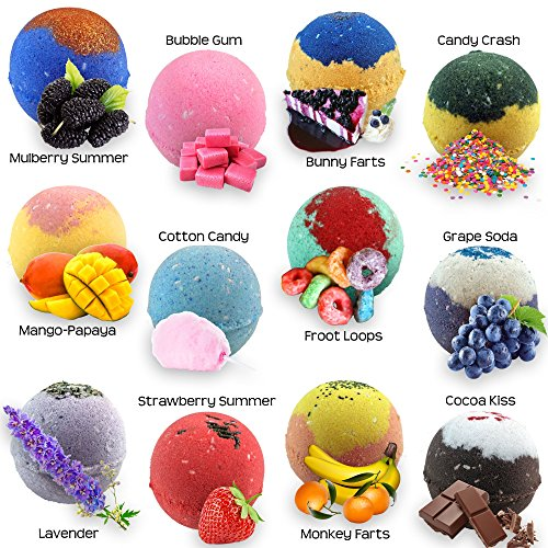 Price comparison product image 12 Colorful Bath Bombs For Kids Gift Set/Safe Bubble Bath Bombs for Kids - Bath Bomb For Women with Bath Salts/Epsom Salt - Natural & Safe Bath Bombs Set - Bath Bombs Kit for Girls & Boys