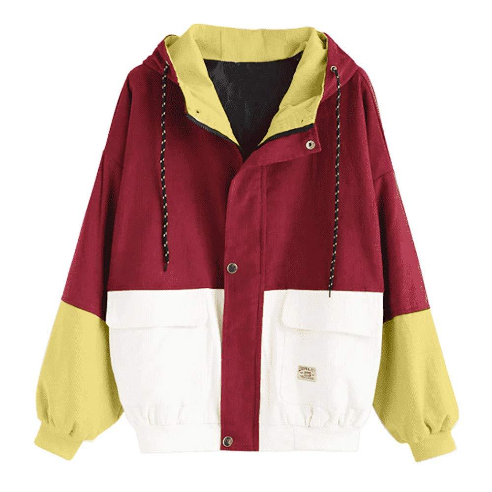 Pandaie Women Fall Winter Short Jacket Hooded Corduroy Color Block Windbreaker Coat Outdoor Jacket Oversize Red by Pandaie