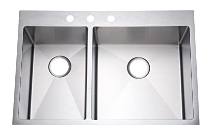 starstar 33 top mount 4060 double bowl kitchen sink drop in - Drop In Kitchen Sink