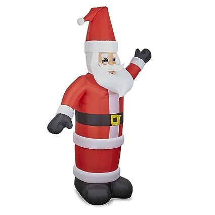 Oneconcept Santa on Tree Figura Papa Noel Inflable (150 cm Altura, hinchador, iluminación 6 LED Integrados, Santa Claus y árbol de Navidad Auto ...