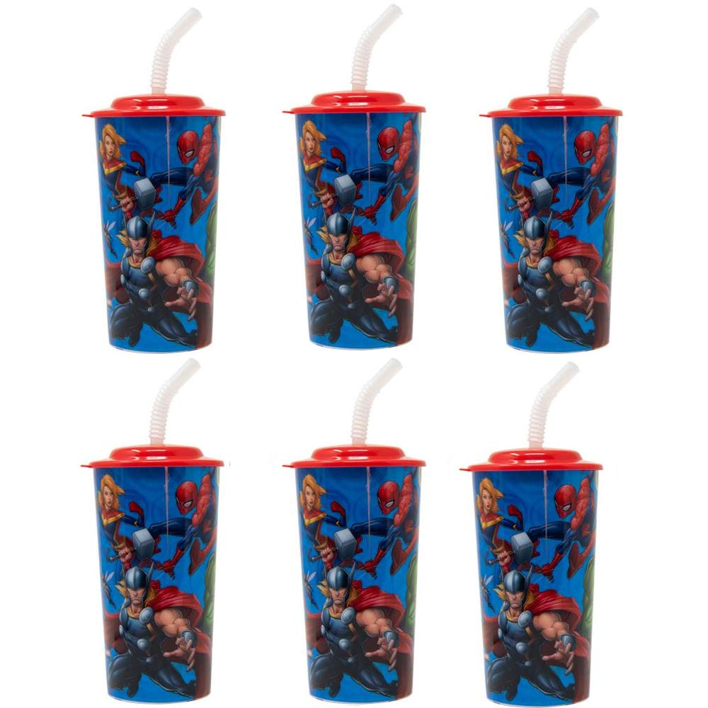 6-Pack Marvel Avengers 16oz Reusable Sports Tumbler Drink Cups with Lids & Straws, BPA-Free by Zak Designs