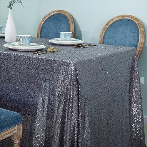 Zdada Sequin Shimmer Tablecloth-Gunmetal 50