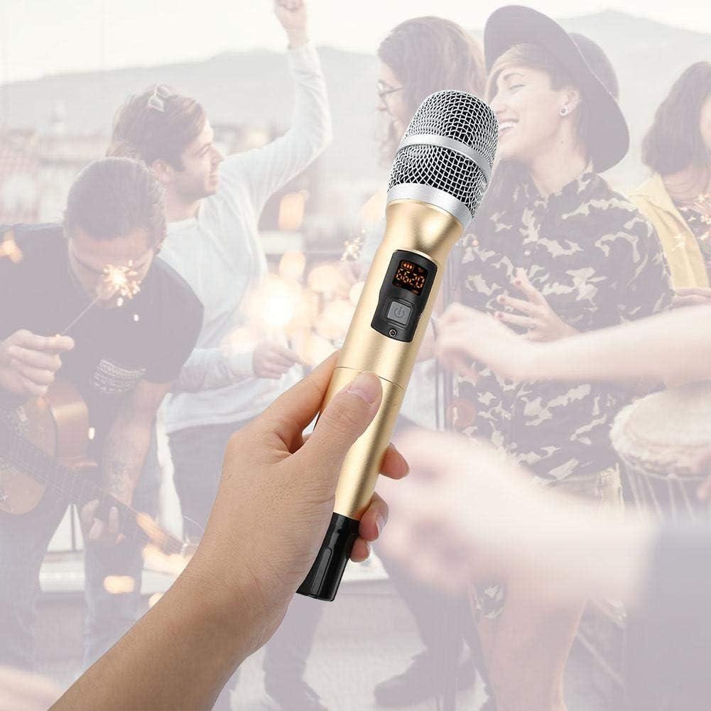 Dynamisches Mikrofon,Tragbares drahtloses UHF-Handmikrofon mit Empf/änger-AA-Batterie f/ür Konferenzrede 25 Kan/äle Frequenzmodulation