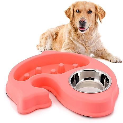 Liboom Comedero Doble para Perro Gato Despacio a Comer Anti-Asfixia Interactivo Comedero Antideslizante Antivoracidad