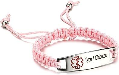 JF.JEWELRY Type 1 Diabetes Medical Alert ID Bracelet for Kids Nylon Braided Bracelet 6-8 inches Green