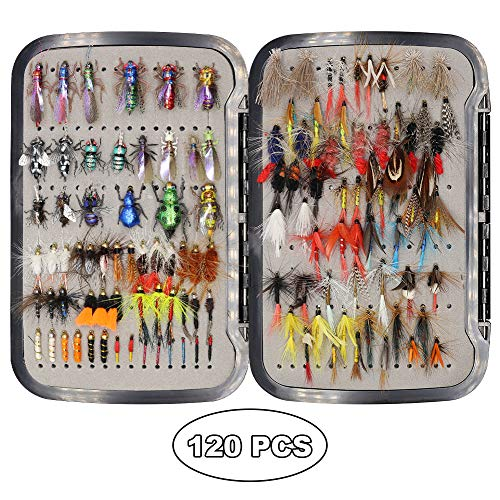 YZD Trout Fly Fishing Flies Collection 194/118/69 Premium Flies Dry Wet Nymph Streamers Fly Assortment with Fly Box Flyfishing Flys Lures Kits (Realistic & Classic Fly Selection 120 Pcs)
