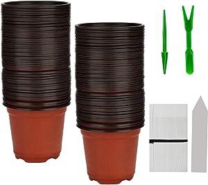 """BTSD-home BTSD-home 100 Pcs 4"""" Plastic Plants Pots Nursery Pots 100 Pcs Planting Tags Label 2Pcs Mini Garden Tools Flower Seedlings Container"""