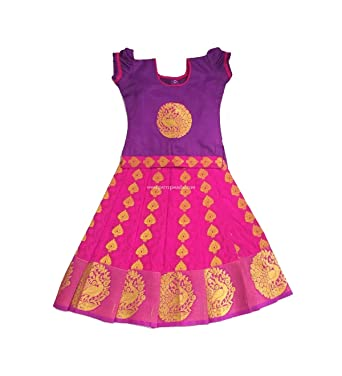 d64424519d59 Pattu Pavadai Silk Pavada Violet and Pink for Baby Girls and Kids - 3 Years