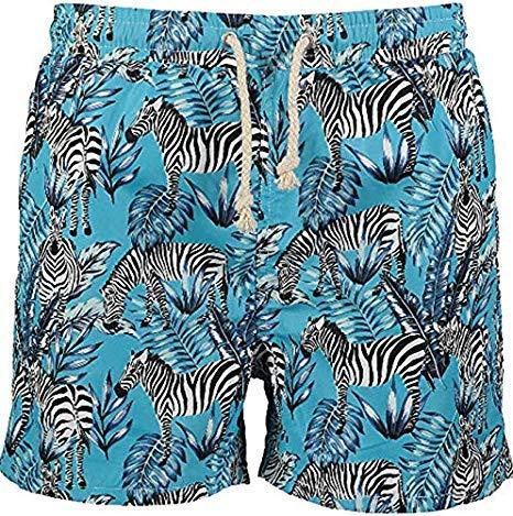 9426f573a5 Havacoa Aqua Blue Zebra Print Swimming Trunks Size: XX-Large: Amazon.co.uk:  Clothing