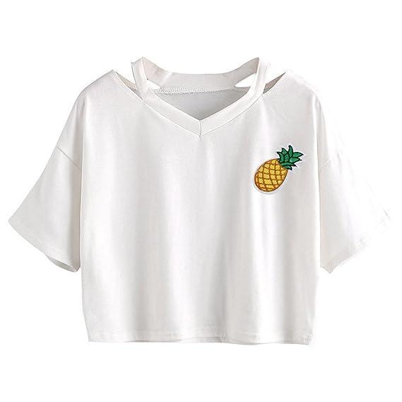 Minetom Mujer T-Shirt Manga Corta Cuello V Camiseta T-Shirt Camisa Pullover Verano