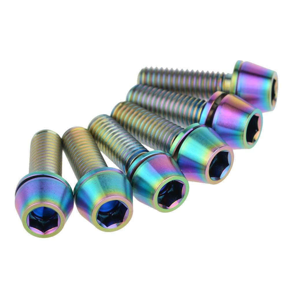 6 St/ück Ruifu M5 Titanium Gr5 Innensechskantschrauben Kegelschrauben mit Unterlegscheiben 16 18 20 mm f/ür Scheibenbremse fixiert