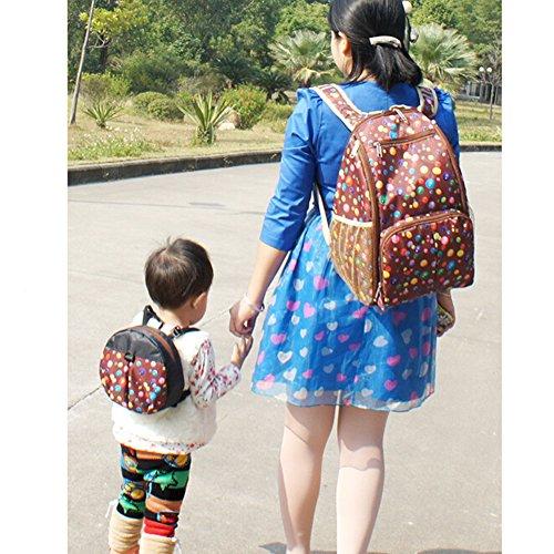 Lunares gran capacidad bolsa de cambiar pañales pañales mochila mochila Freaky momia bolsa + bebé mochila pequeña negro café