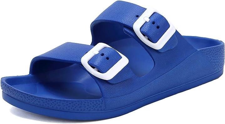 New Women T Strap Slide Sandals EVA Sole Flat Comfort Shoes
