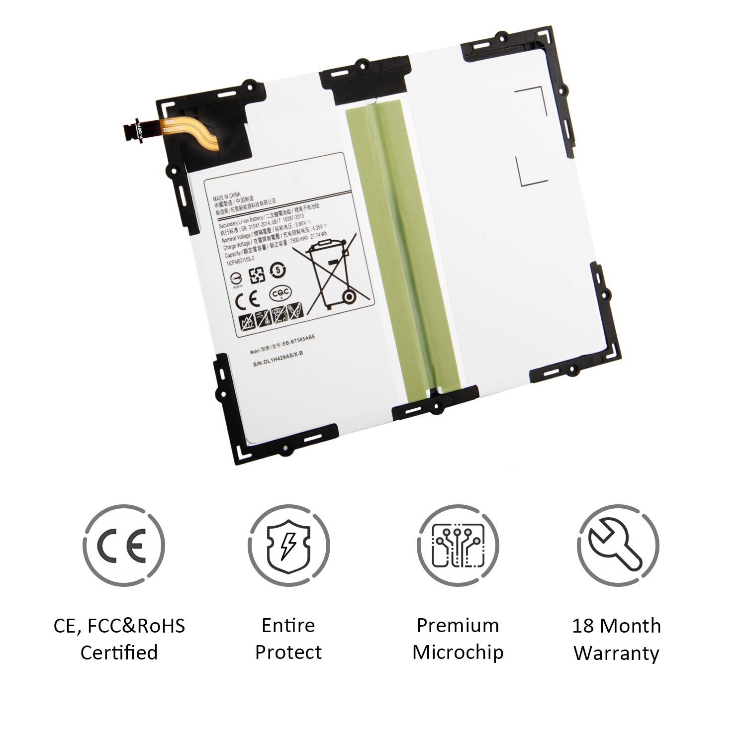 ASKC 7300mAh EB-BT585ABE Laptop Tablet Battery for Samsung Galaxy Tab A 10.1 2016 SM-T580 SM-T585 SM-P580 P585 P585M SM-T585C SM-T587 SM-T587P Series EB-BT585ABA 3.8V 27.74Wh with Tools