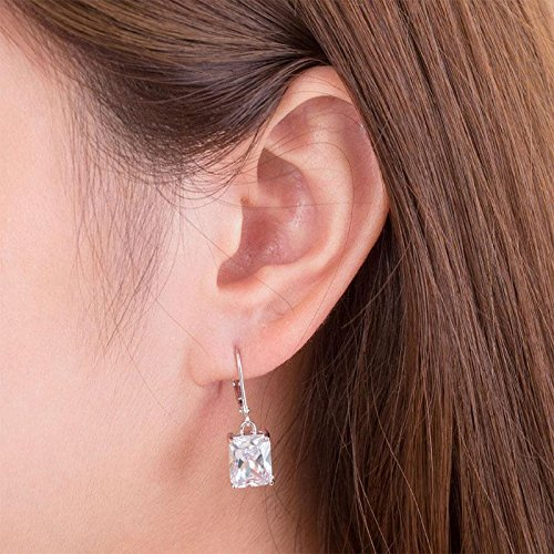 Exquisite Selebrity 4 Carat Emerald Cut Created Diamond 925 Sterling Silver Dangle Earrings XFE8013