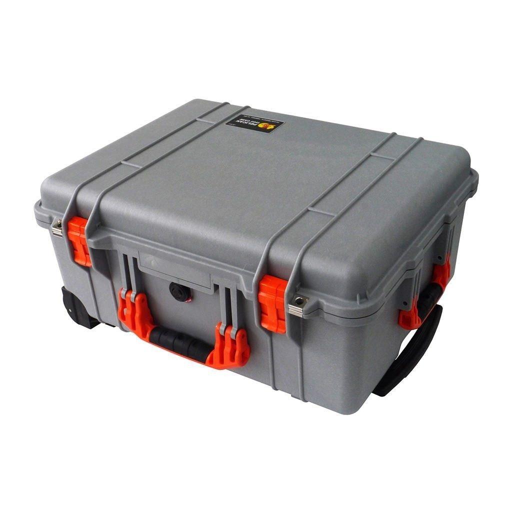 シルバーペリカン1560ケース。 オレンジハンドルラッチ、フォーム、ホイールが付属しています。 B07JNF1X75