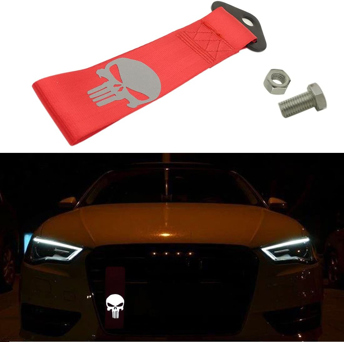 Blue Kaizen Reflective Universal Skull Racing Tow Strap JDM Towing Strap Punisher Bumper Towing Set for Front Or Rear Bumper Towing Hook