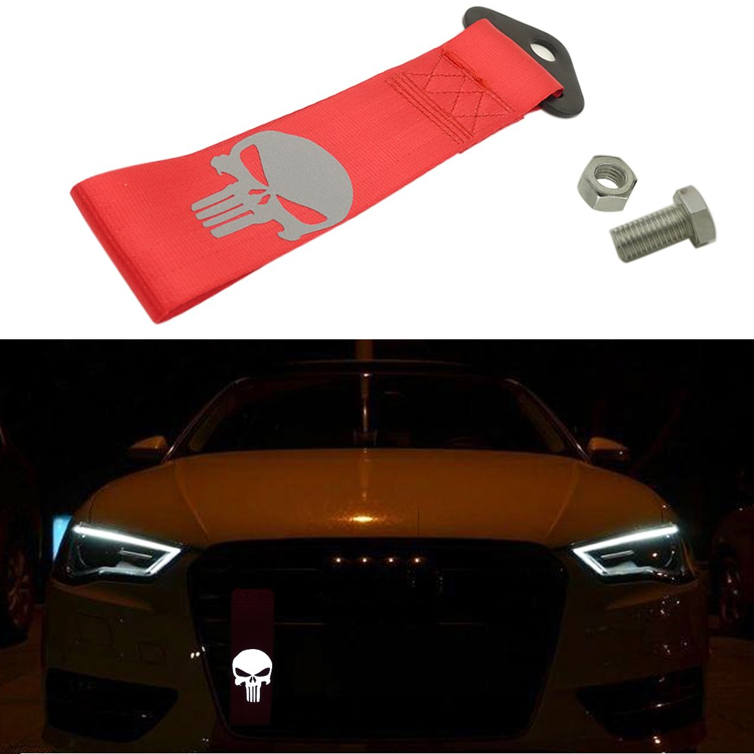 Kaizen Reflective Universal Skull Racing Tow Strap JDM Towing Strap Punisher Bumper Towing Set for Front Or Rear Bumper Towing Hook (Red) Kaizen Acc