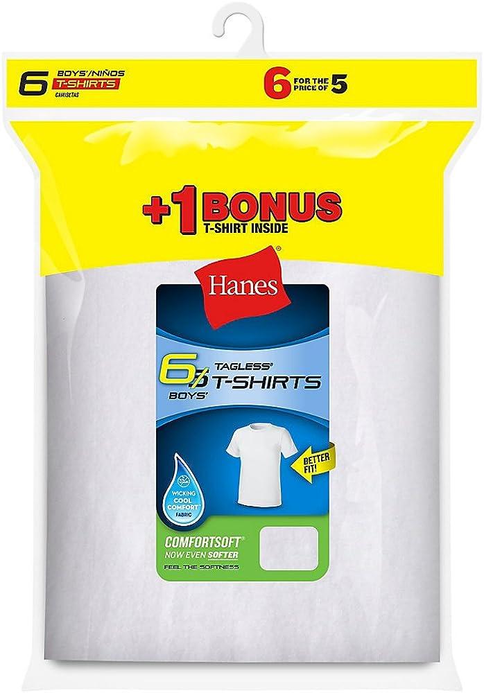 Hanes Boys` Tagless 6-Pack Crewneck Undershirt