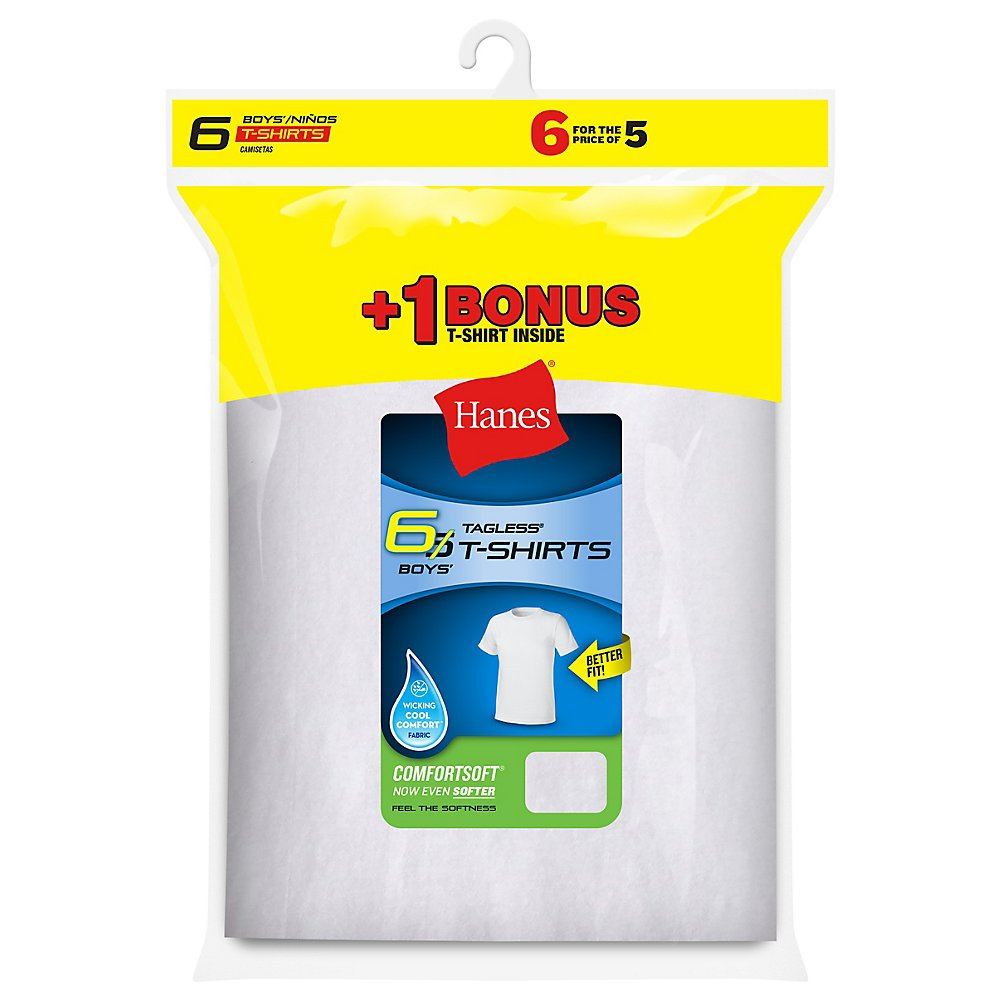 Hanes Boys` TAGLESS 6-Pack Crewneck Undershirt B21386