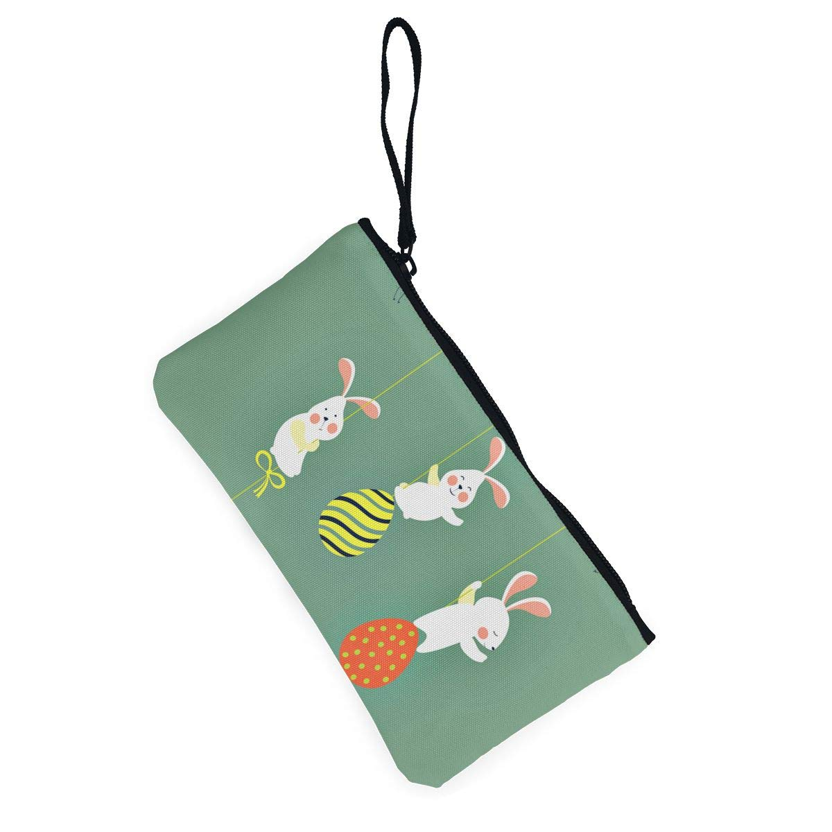 Maple Memories Easter Egg Bunny Portable Canvas Coin Purse Change Purse Pouch Mini Wallet Gifts For Women Girls