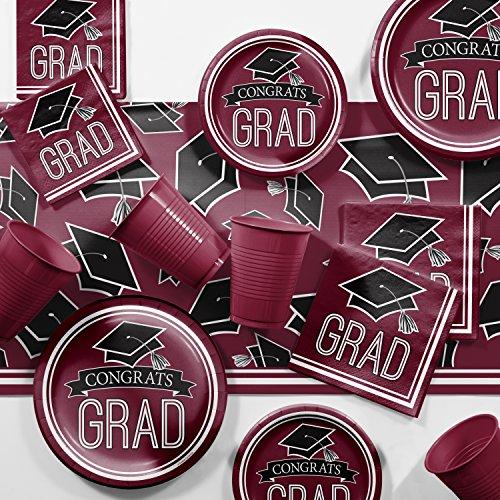 2018 Graduation School Spirit Burgundy Red Party Supplies Kit