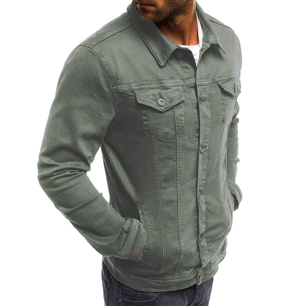 iLXHD Mens Autumn Winter Button Solid Color Vintage Denim Jacket Tops Blouse Coat Outwear at Amazon Mens Clothing store: