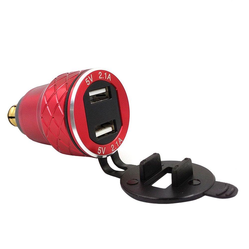 Blau Sixcup/® 4.2A Aluminium Motorrad Dual USB Ladeger/ät DIN Buchse Voltmeter f/ür Hella//DIN oder f/ür BMW Motorrad Wasserdicht Quick Charge USB Steckdose