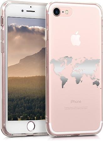 Kwmobile Hülle Kompatibel Mit Apple Iphone 7 8 Se 2020 Handyhülle Handy Case Travel Umriss Silber Transparent Elektronik