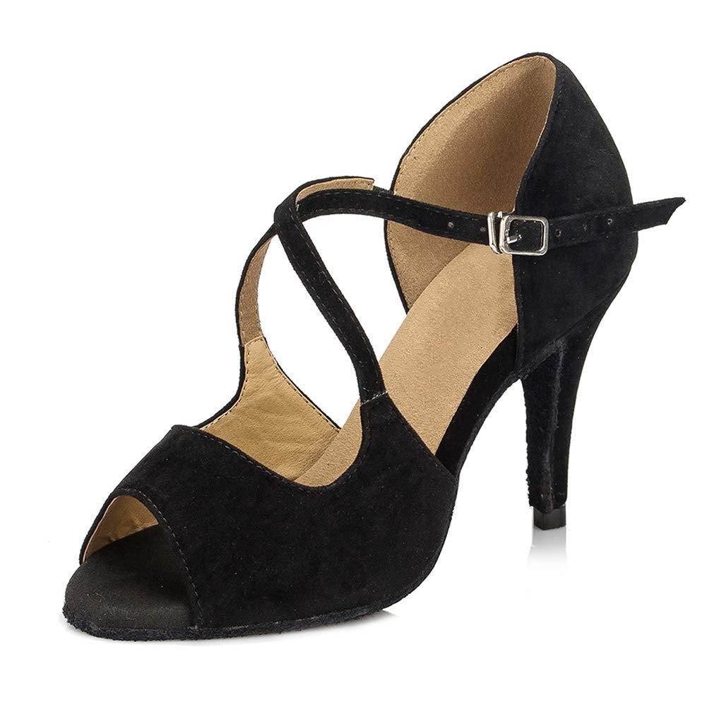 HIPPOSEUS Women Latin Ballroom Dance Shoes with Cross Strap Modern Tango Salsa Party Hight Heel Shoes,Model CYL050