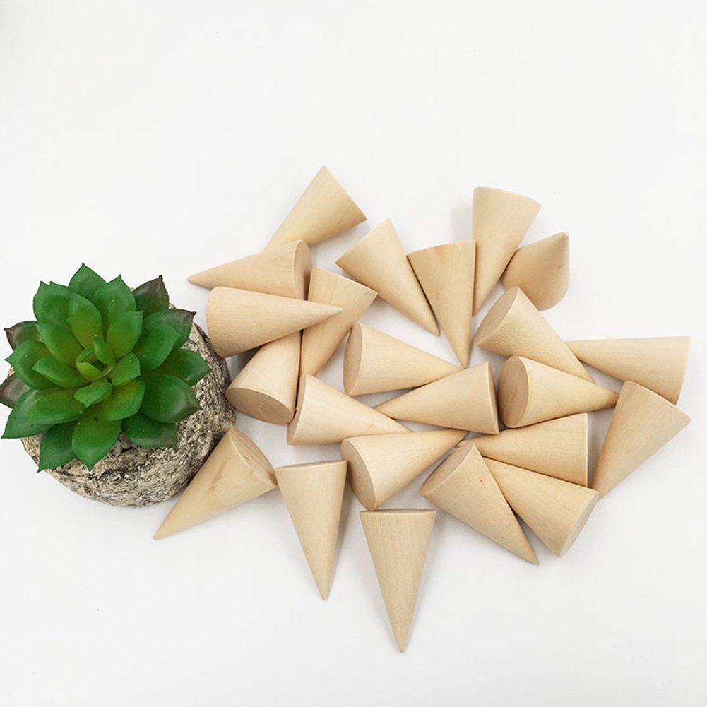 Whale GoGo 10 Pcs Small Natural Wood Cone Ring Display Stands Organizer Holders by Whale GoGo (Image #8)