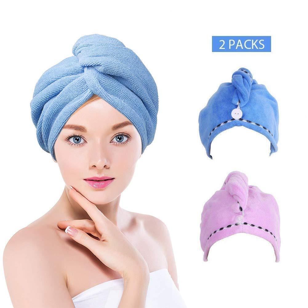 shun yi capelli foulard, ad asciugatura rapida, super assorbente e ad asciugatura rapida, asciugamano per capelli, capelli secchi asciugamano in microfibra (pezzi blu, viola)