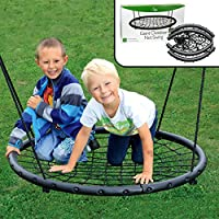 "Tree Net Swing- Giant 40"" Wide Two Person Outdoor Web Rope Swing Set (Holds Over 220 lbs)"