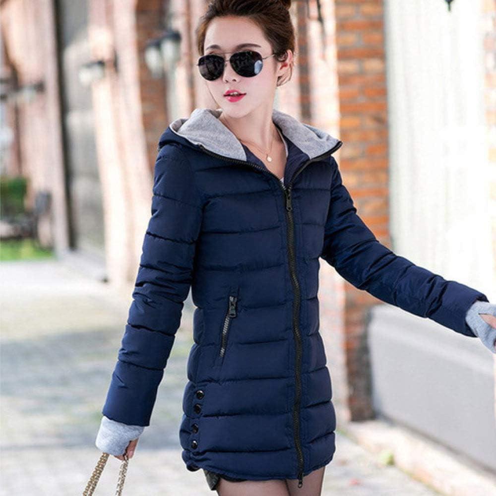 YRFDM Cappotto Caldo,Caldo Cappotto Invernale da Donna con Cappuccio Slim Plus Size Giacca in Cotone Imbottito Color Caramello Femminile Medio-Lungo Blu navy