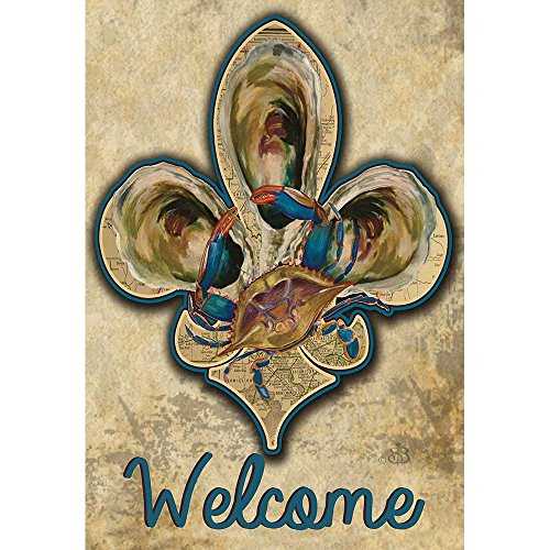 Magnolia Garden Welcome Crab and Old Paper Map Fleur de Lis 44 x 30 Rectangular Screenprint Large House Flag ()