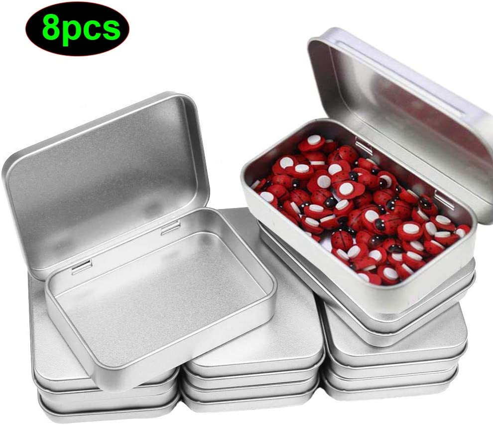 Cajas Metalicas Pequeñas (Pack 8) Latas de Aluminio Tapa Transparente sin Bisagra - 11.5cm x 8.5cm x 2.2cm - Latas Vacías para Cosméticos, Especias, Tarjeta SD, Abalorios, Monedas, Joyas, Dulces: Amazon.es: Hogar