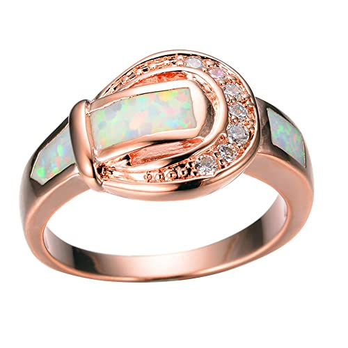 Amazon Com Ft Ring New Fashion Male Female White Fire Opal Rose