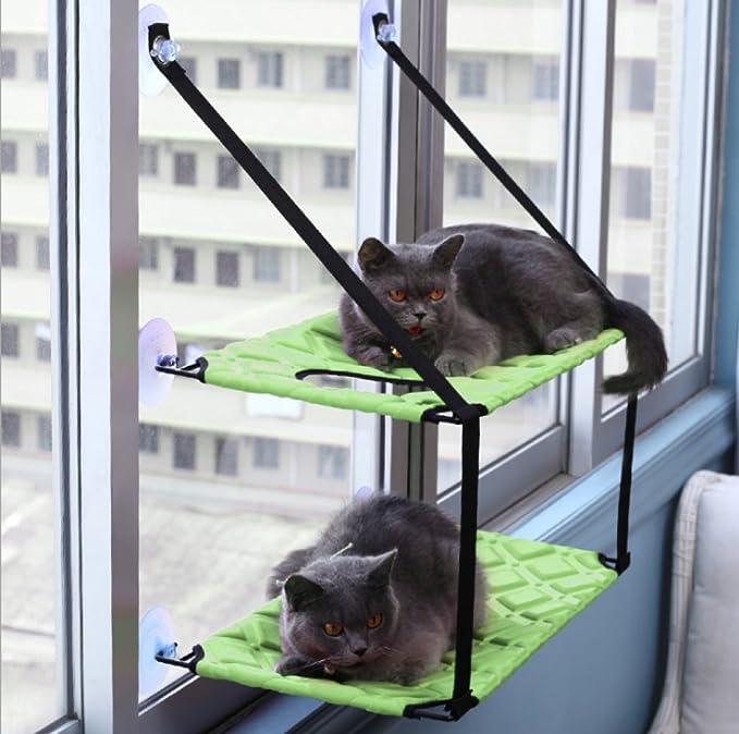 YANJJ Suministros Para Mascotas Gato Hamaca Ventosa Ventana Colgante Ventosa Colgante Litera De Gato Cama Individual Cama Doble Para Mascotas,Red-single: ...