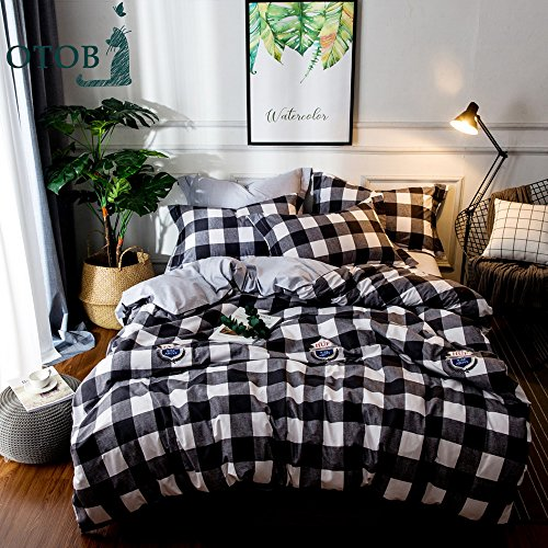 Black And White Gingham Baby Bedding - OTOB 3 Piece Cotton Duvet Cover Sets for Teens Adults Queen, Reversible Plaid Home Textile Bedding Set with Pillow Shams Black White