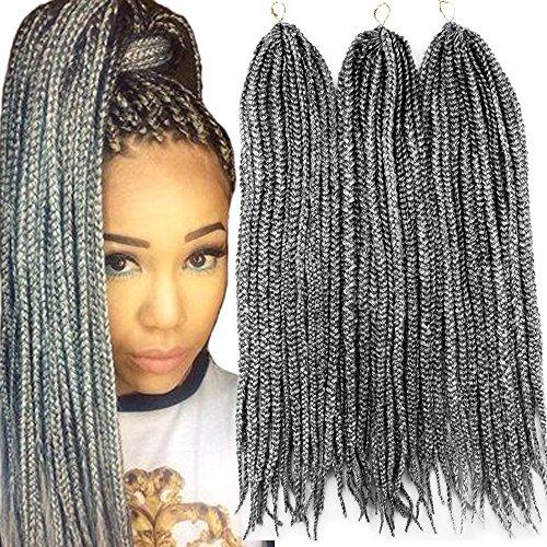 VRHOT 6Packs 18'' Box Braids Crochet Hair Small Synthetic Hair Extensions Twist Crochet Braids Hairstyles Kanekalon Braiding Hair Long Dreadlocks for Black Women 18 inch Grey (18 inch, Gray) ()