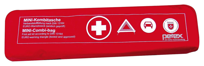 Petex 43999712 Kombitasche p l u s mit Klettband best. aus EURO-Warndreieck, Verbandstofffü llung und Sicherheitsweste, rot