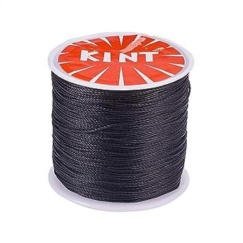 d4a88c7fd510 PandaHall Elite 1 Rollo 116 Yards 0.5 mm Negro Cordón de algodón Hilo  Encerado Redondo para Hacer bisuteria Pulseras Collar Hilo para Abalorios   Amazon.es  ...