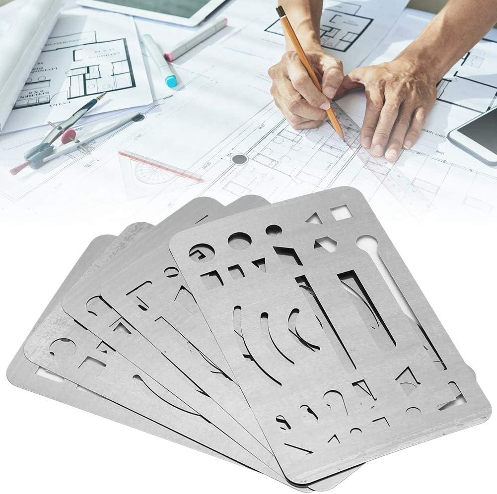 Orange 27 Holes Erasing Shield Multipurpose Engineering Drawing Template Pattern Ruler Drawing Drafting Tool 10Pcs Erasing Shield